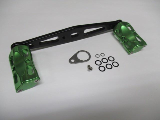 ストレート 緑メタル アブ/ダイワ/シマノ M7の場合:アダプタ必要向け ハンドル ナット別売 雷魚 カゴ