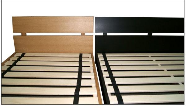 ベッド・ダブルベッド フレームのみ ベッドフレーム 巻きすのこベッド/木製ベッド ナチュラル・ウェンジ 二色対応 【ロータイプのモダンなベッドです】