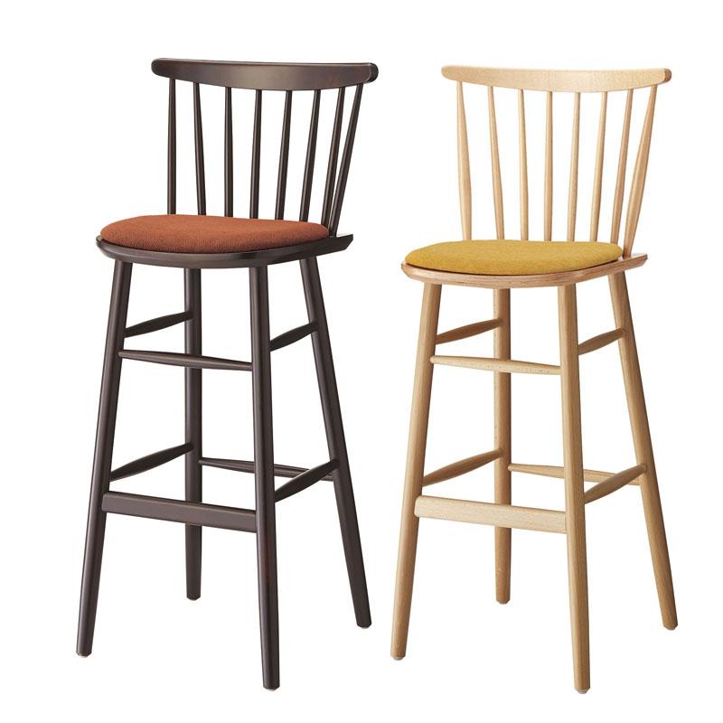 カウンターチェアー木製椅子曲木椅子座張り  業務用店舗用カラー2色 nina-2h