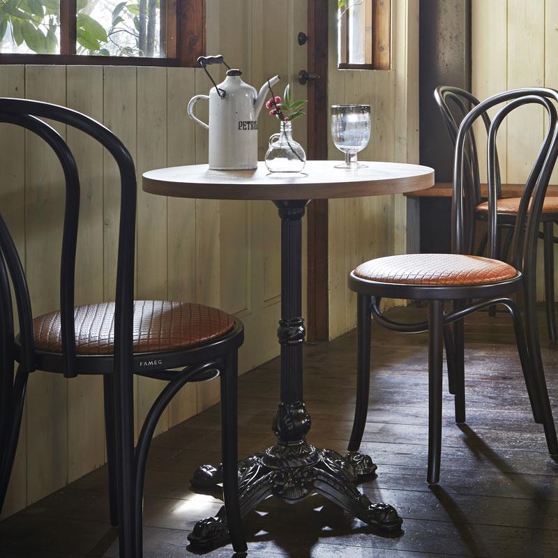 テーブルカフェテーブルアンティーク古材風直径60cm 3色業務用店舗用家具 tp177k-ft257m