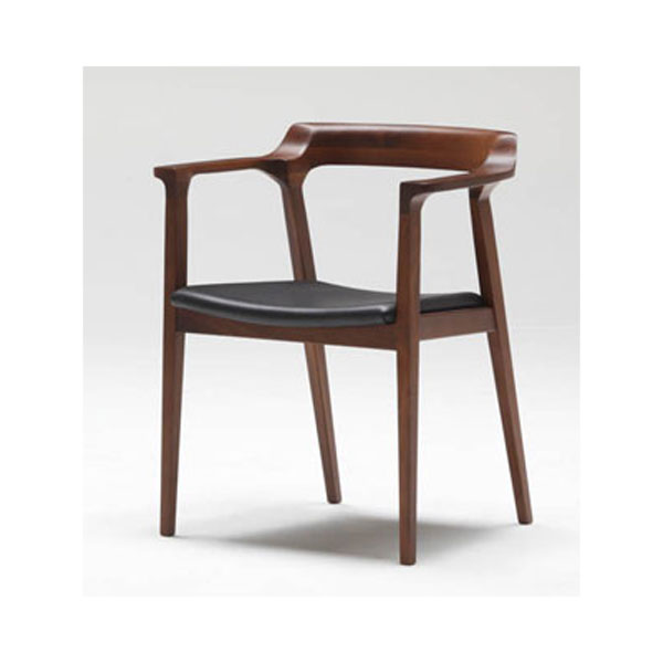 北欧調ダイニングチェアー高級木製本革椅子アームチェアmyc1086bl