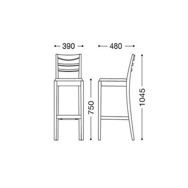 カウンターチェアバーチェア 椅子 天然木 木製 シンプル業務用店舗用完成既製品色2種類 habity1-s75