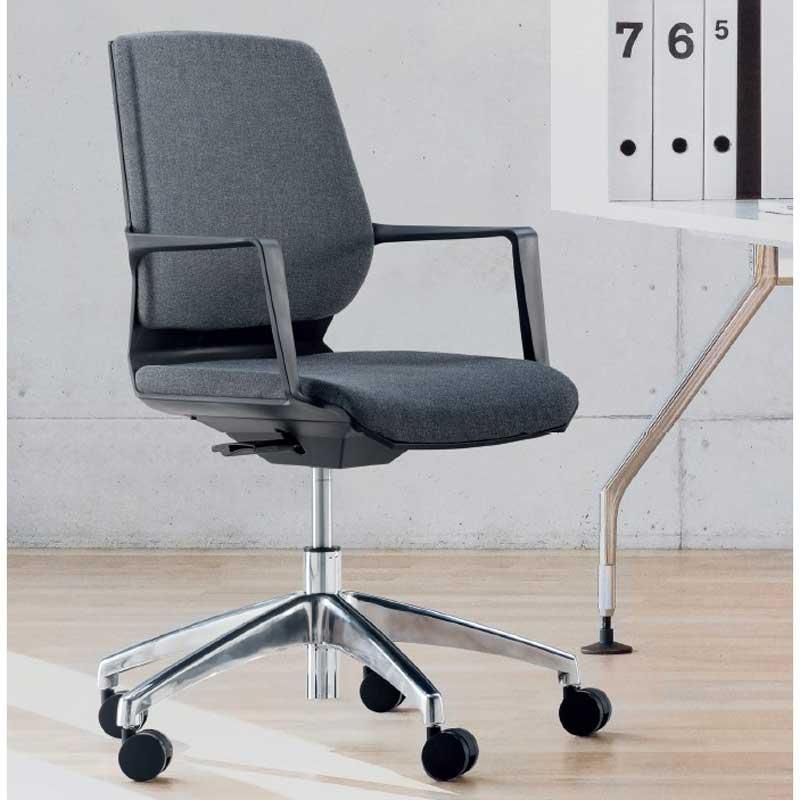 ミーティングチェア 会議椅子 軽快なグレーファブリックワークチェア muc0680gy