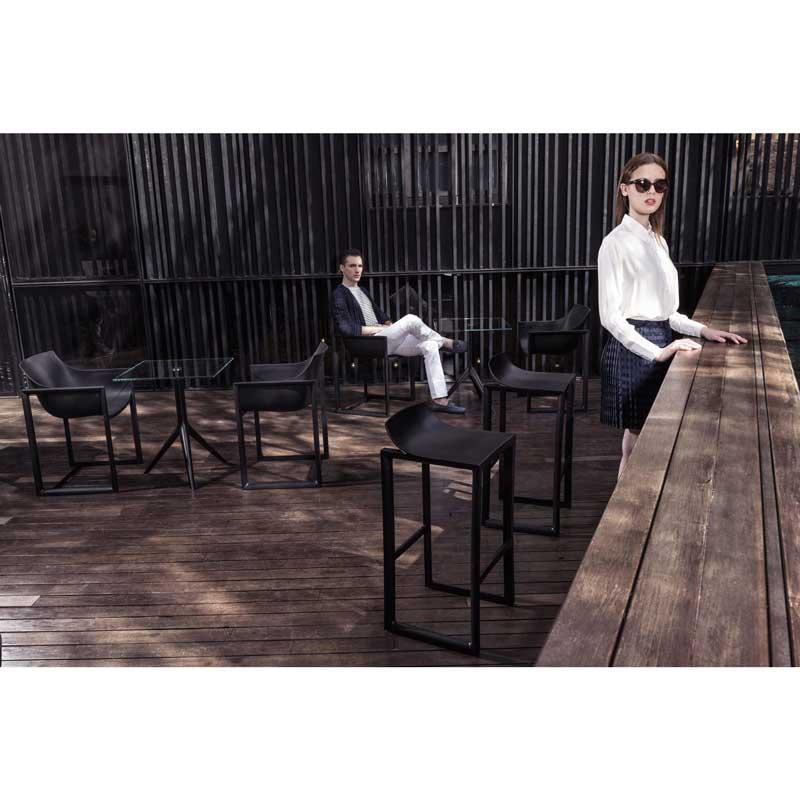 ブラック ガーデンチェア デザイナーズ  ポリプロピレン 屋内外使用可  muc0724bl