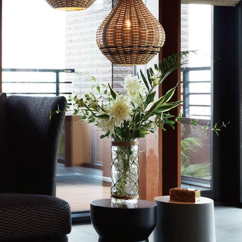 トウメイガラス 円形筒形花器おしゃれオブジェ置き物 インテリア雑貨  myk0463
