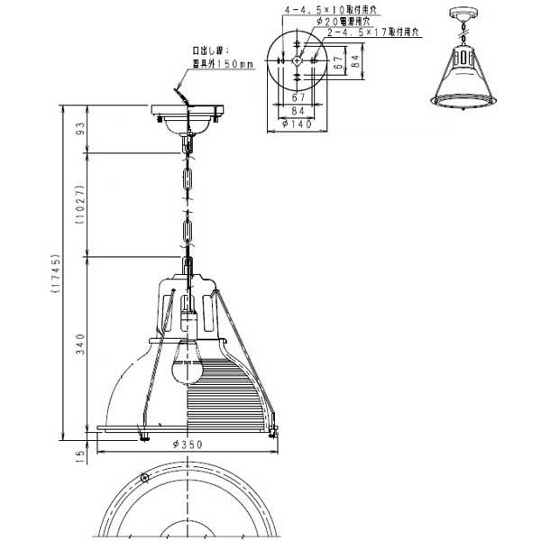 透明リブガラス ゴールド  倉庫風 ペンダントライト 高天井用チェーン吊り店舗用天井照明直径35cm ERP7237KC