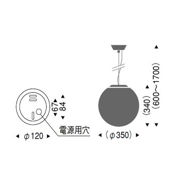 やわらかい模様の丸型ガラスペンダントランプ照明直径35cm LED ERP7174MB