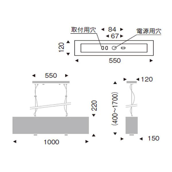 シルバー布セード長長方形ペンダントライト 照明 天井照明 ERP7158SB