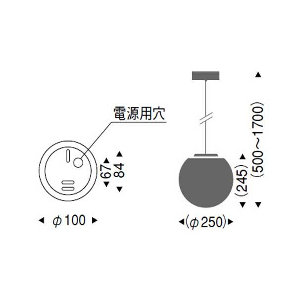 やわらかい模様の丸型ガラスペンダントランプ照明直径25cmLED ERP7173MB
