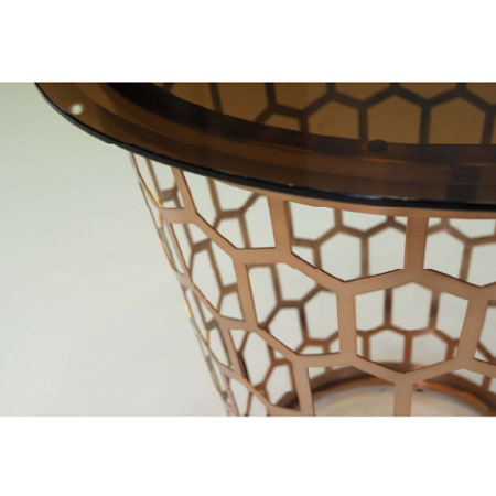 おしゃれ円形モダンリビングサイドテーブル 強化ガラステーブル アンバー色 直径66cm myt0520am