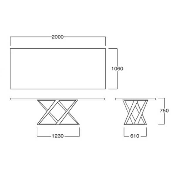 天然ウォールナット無垢天板ダイニングテーブル ワイドモダンデザイナーズテーブルイタリア製幅2m mbt0111bd