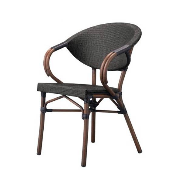 ガーデンチェアラタン調雰囲気のアームチェアおしゃれスタッキングチェア  店舗用業務用家具椅子 mauritius-arm2
