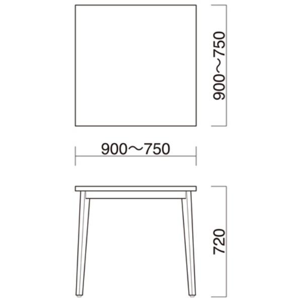 ダイニングテーブル木目テーブル3色正方形丸型など店舗業務用家具 wt013-75-90