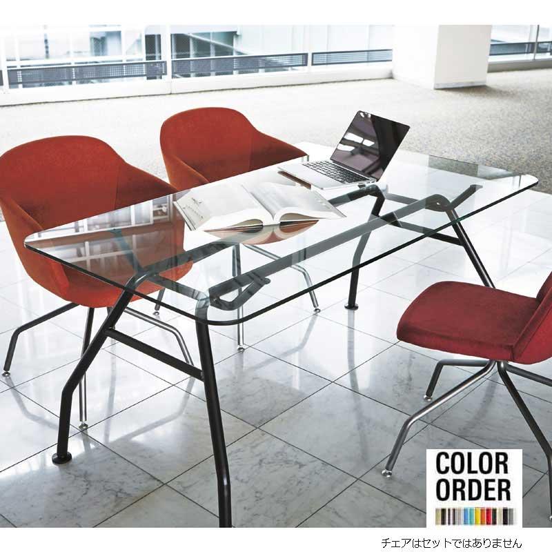 ガラステーブルダイニングテーブルイタリアデザイナーコラボ色が選べるテーブル160×80 tb68-1600