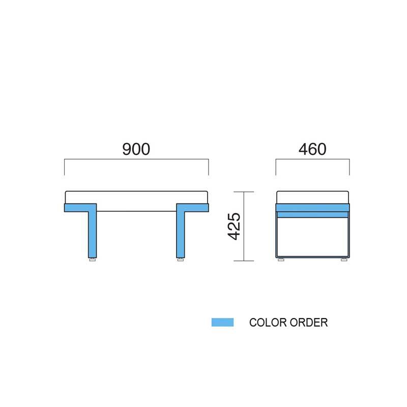 ロビーチェア ベンチ エントランスベンチ幅90cm  デザイナーズ業務用店舗用家具 bounty900