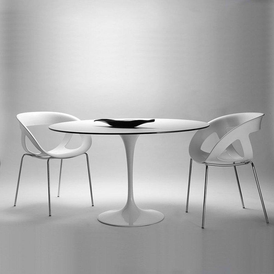 丸型カフェダイニングテーブル 直径100cmイタリア製エレガントホワイト ナチュラル木目 mut0081