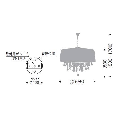 シャンデリア風ペンダント  ドレープブラックセードクリスタル天井照明 LEDランプ別 ERP7306BB