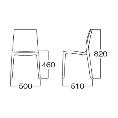 モダン クリアチェアデザイナーズ カフェチェアスタッキングチェア 樹脂チェア イタリア製myc0606