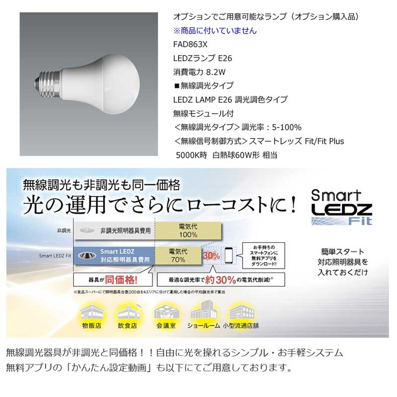 ナチュラルなペンダント照明・デザイン照明/LEDランプ照明 ERP7198WB(球別)
