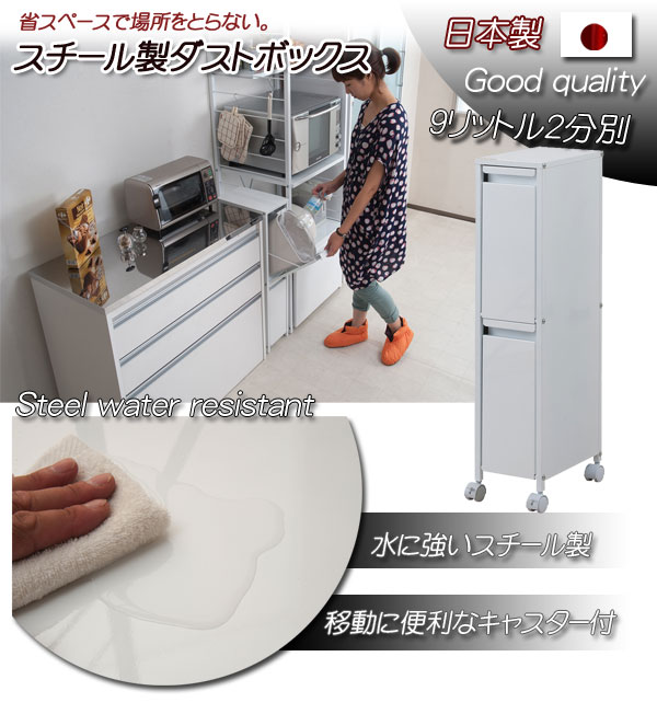 【通販】【キッチン】【ダストボックス】【送料無料】   スチール製  【 2分別 9リットルペール 】ダストボックス