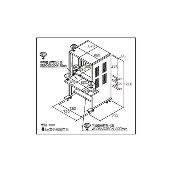 セキュリティパソコンラック PCラック PSS-101 W730×D700×H1250mm【送料無料(北海道 沖縄 離島を除く)】