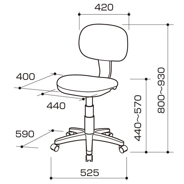 ナカバヤシ オフィスチェア CGN-101 幅525×奥行590×高さ800〜930×座面高440〜570mm 【送料無料(北海道 沖縄 離島を除く)】 事務椅子