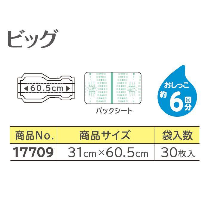 【リサイクル箱でお届け】リフレ 透湿タイプ サラケアパッド ビッグ(30枚入×1袋)(おしっこ約6回分)