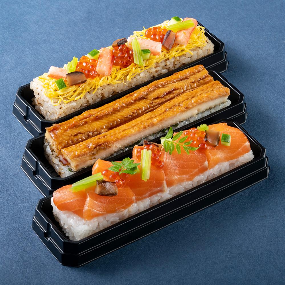 ふくいサーモンの昆布〆鮨 焼き穴子鮨 蟹ちらし鮨 3本セット