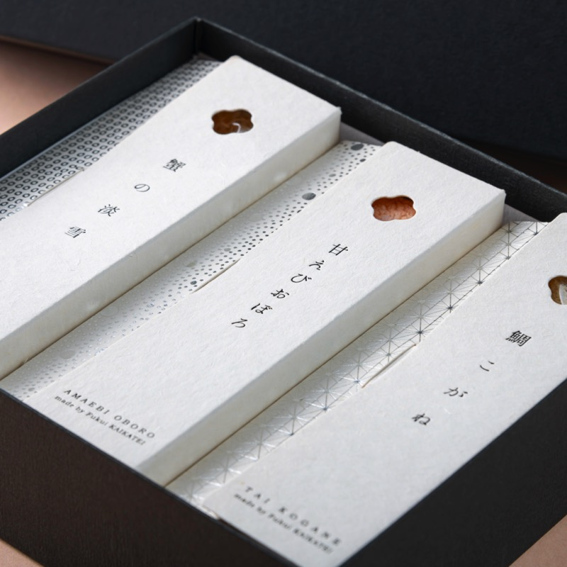 デザインボックス入り 蟹の淡雪・甘えびおぼろ・鯛こがね 3ヶセット