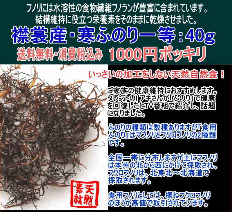 襟裳産 寒ふのり40g 1000円ポッキリ_メール便送料無料 天然素材 味噌汁、麺類など