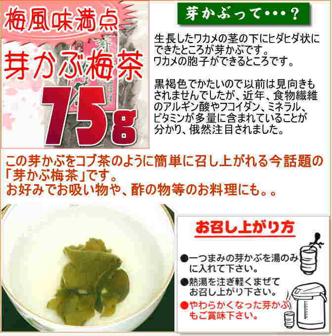 梅風味満点・芽かぶ梅茶【75g入り】簡単メカブお吸物[ 健康に良いメカブをお茶に、麺類のトッピングに ]