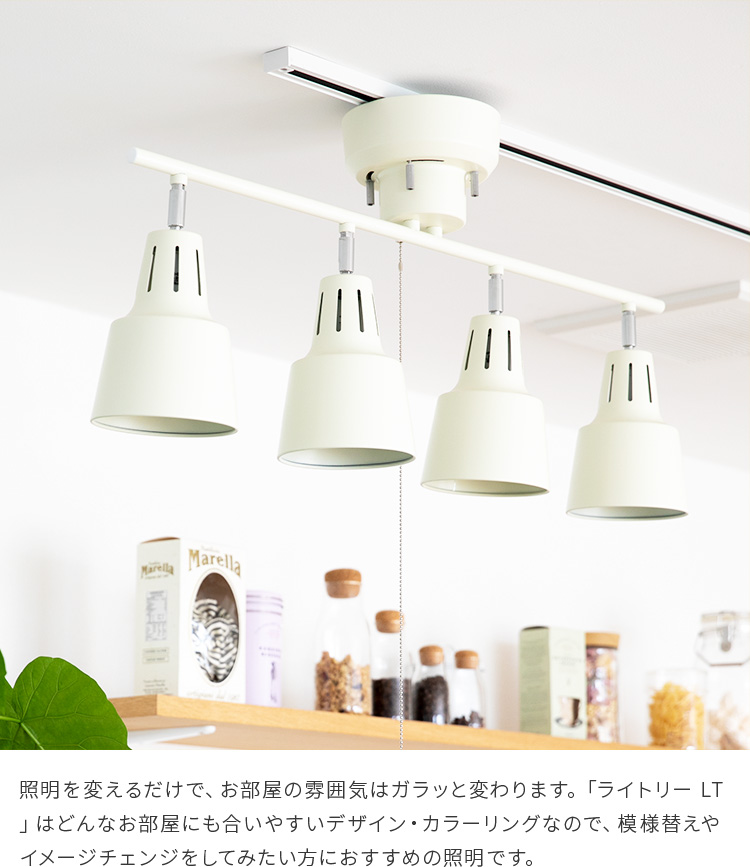 シーリングライト LED 対応 スポットライト 4灯 ライトリー LT | ダイニング用 食卓用 リビング用 塩系 おしゃれ