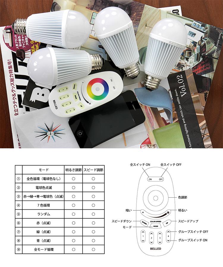 【カラフルに調色できるLED電球】リモコン電球 RGB BELLED ベルド LED電球|調光 調色 後付け レインボー 一般電球 電球色 E26 2
