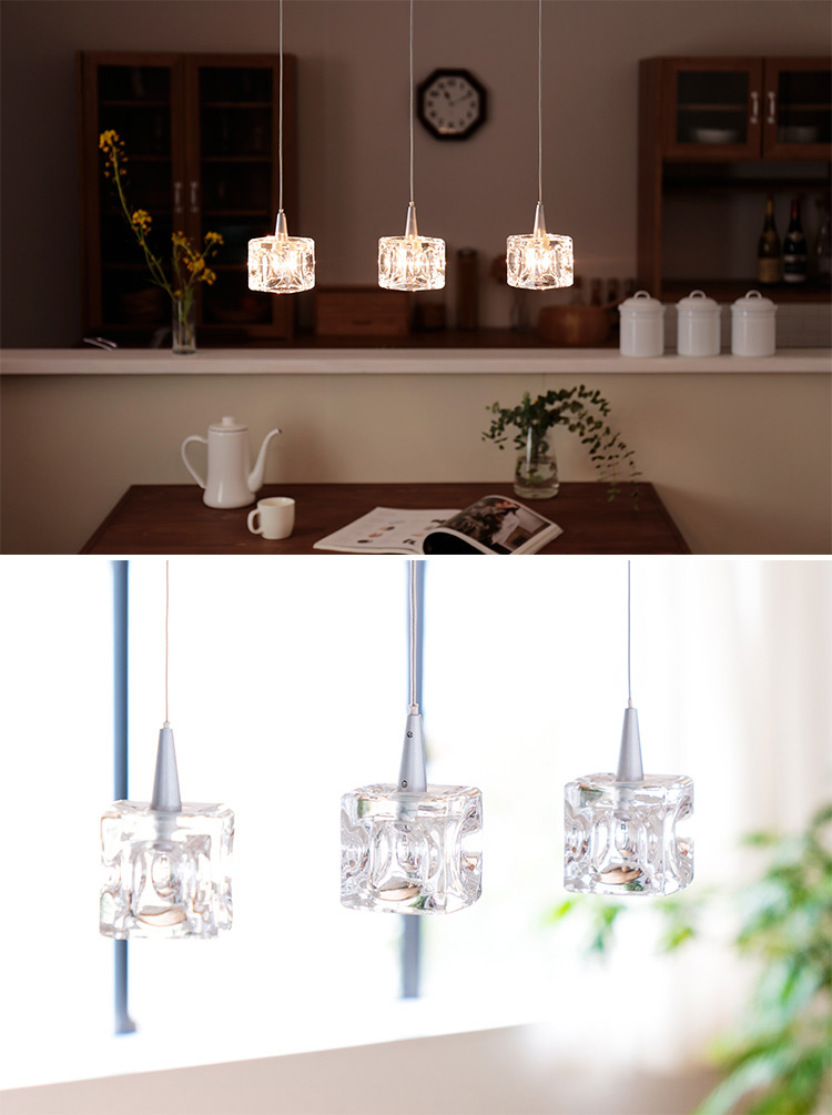 ペンダントライト 3灯 ガラスキューブ ハロゲン nc-45017 キシマ[kishima]|