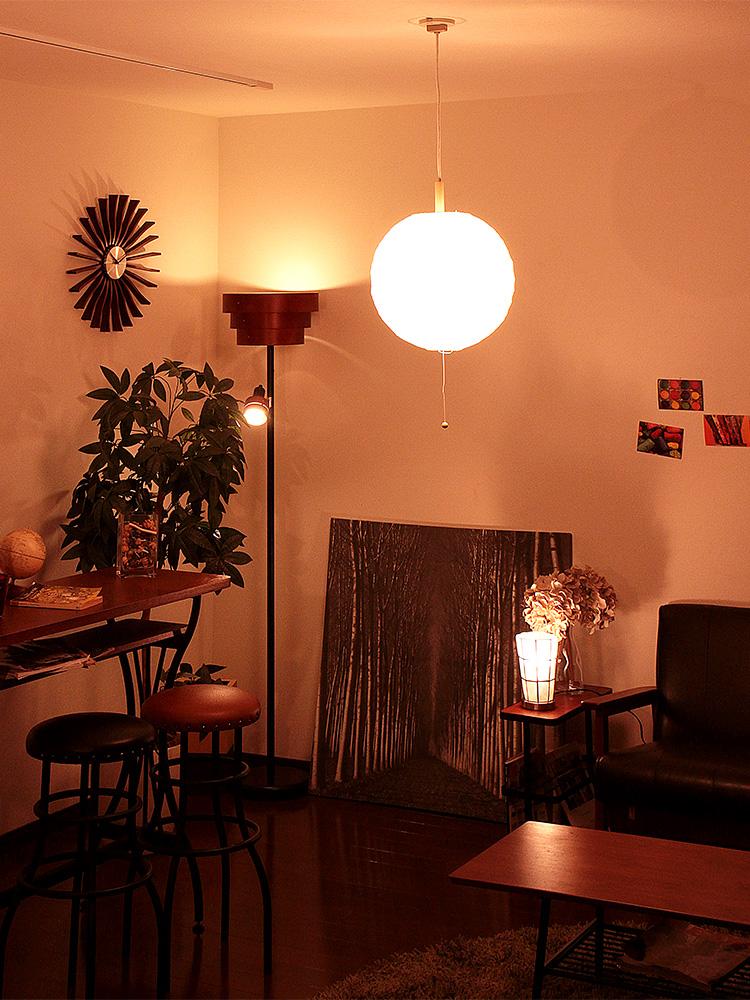 ペンダントライト 2灯 和紙提灯 クロス[ちょうちんくろす w450]ボールタイプ|シーリングライト 間接照明 和室 led アジアン 北