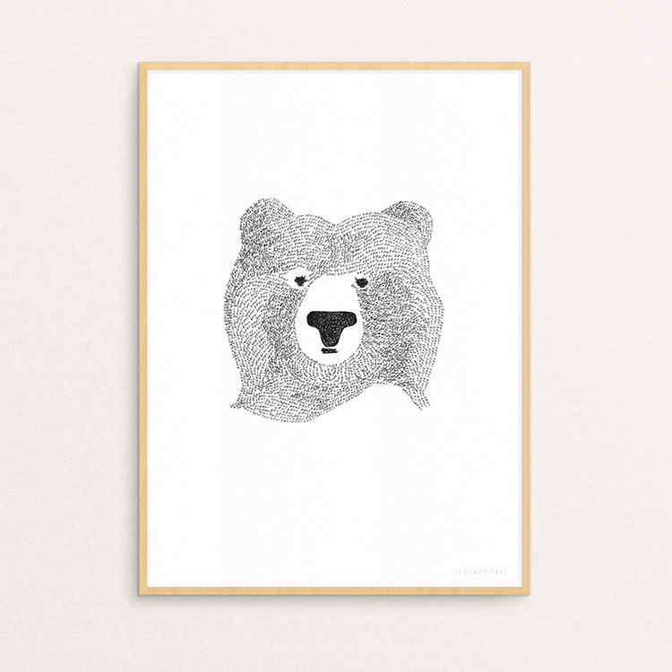 SEVENTY TREE ポスター BEAR OF FEW WORDS A4サイズ【セブンティツリー ポスター クマ 熊 くま ベアー 壁 モノトーン