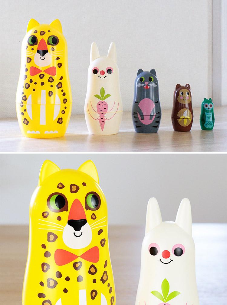 OMM-design インゲラ・アリアニウス スタジオ マトリョーシカ アニマル3【オブジェ 動物 かわいい 可愛い 雑貨 人形 子供 子供部屋 キッ