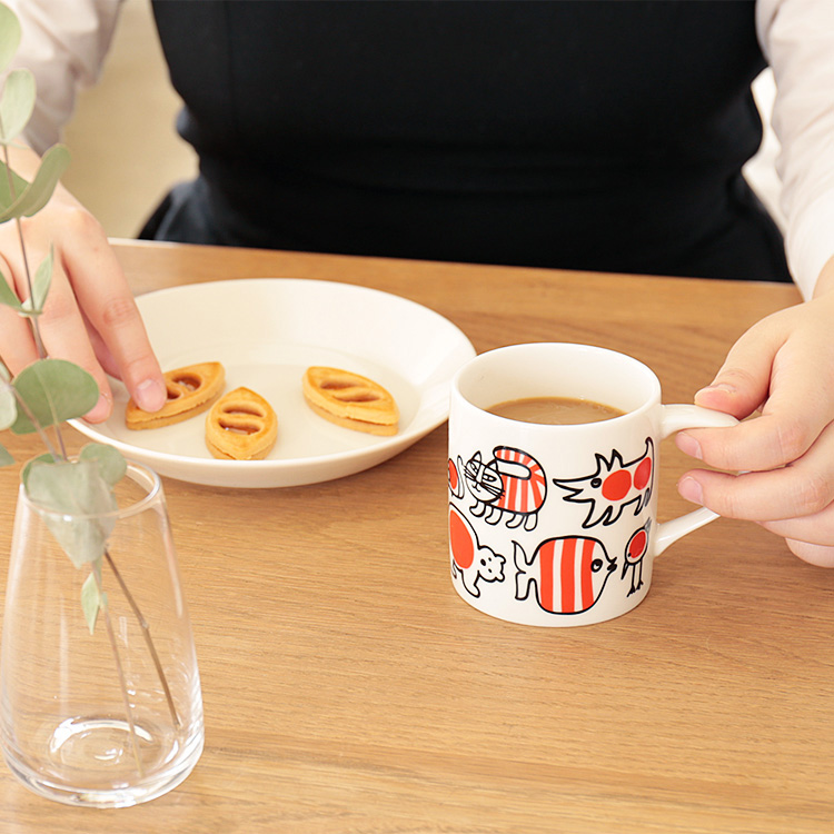 LisaLarson リサラーソン ベイビーマイキーマグカップ【リサ・ラーソン マグカップ カップ ネコ 猫 キッチン 赤 北欧 スウェーデン カフェ