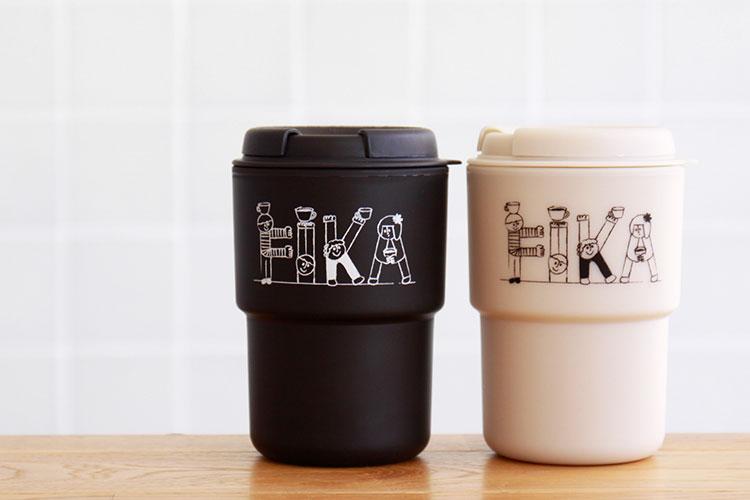 リバーズ ウォールマグデミタ fika フィーカ 350ml 実容量290ml タンブラー 蓋付き 二層構造 プラスチック コップ マグカップ コーヒー
