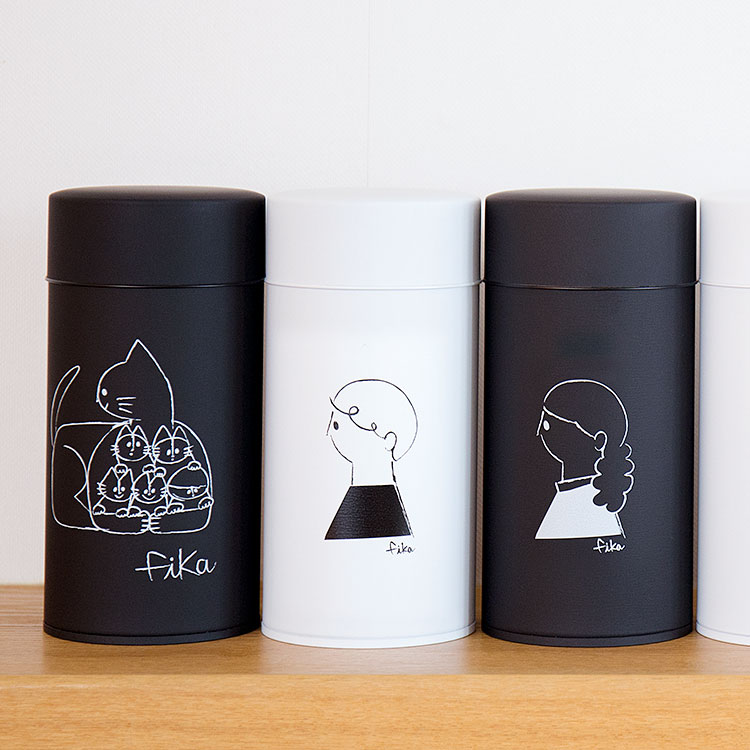 コーヒー缶 fika フィーカ キャニスター 収納 コーヒー缶 珈琲缶 茶筒 保存容器 コーヒー 紅茶 お茶 保存 キッチン 雑貨 北欧 テイスト 猫