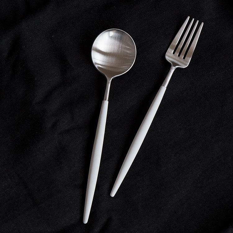 クチポール GOA ゴア ホワイト GO04W テーブルフォーク テーブルスプーン カトラリー フォーク スプーン ディナー ステンレ