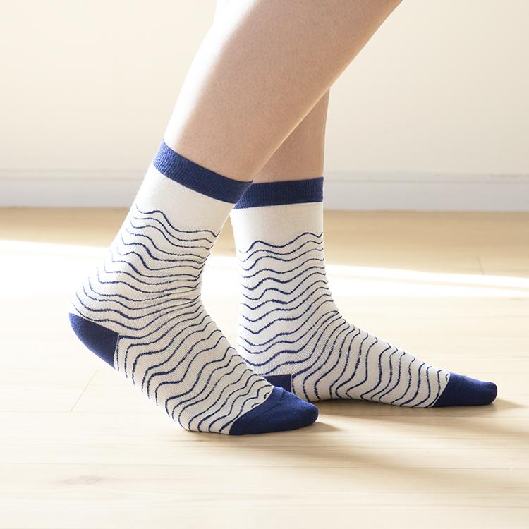 靴下 MARIANNE HALLBERG マリアンヌ・ハルバーグ くつした 靴した ソックス 花柄 波柄 レディース クルー丈 クルー