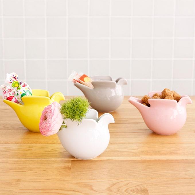 リサラーソンピッチャー Lisa larson×波佐見焼 duva リサ・ラーソン LisaLarson 陶器 鳥 鳩 花瓶 花器 白 動物 シュガー