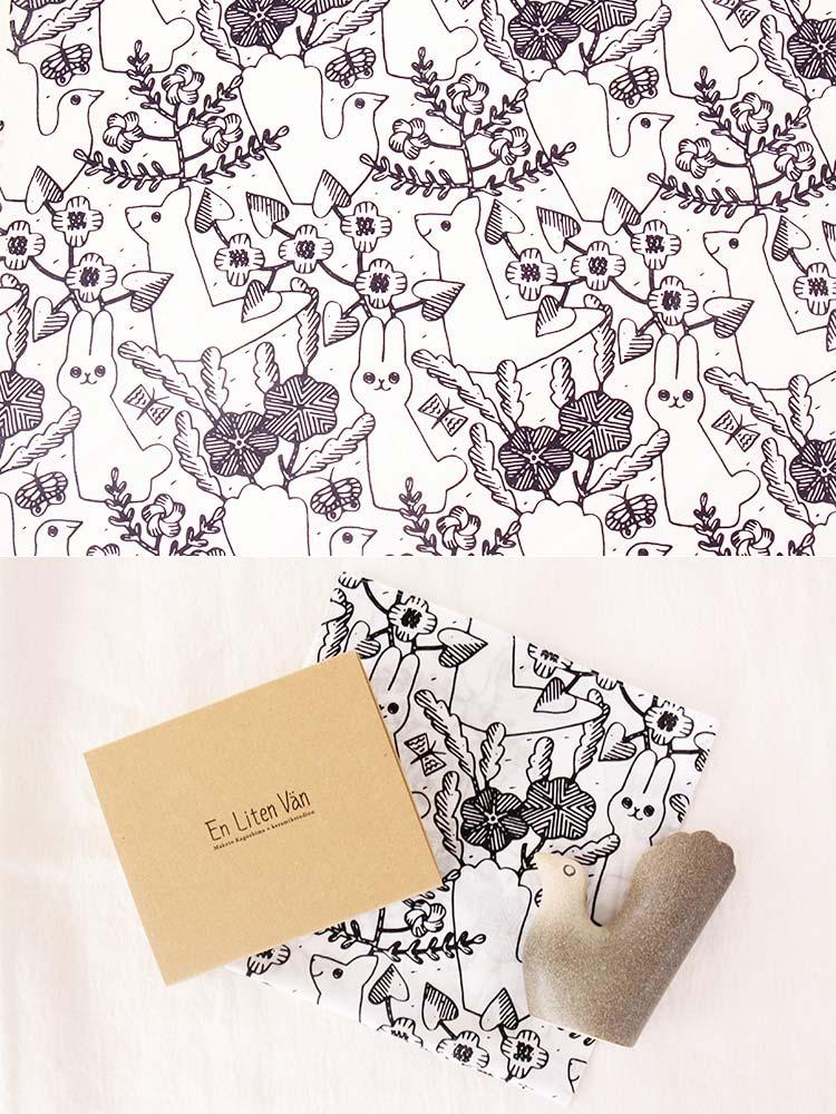 フラワーベースオブジェ 鹿児島睦×Keramikstudion【En Liten Van 小さな友達 陶器 鳥 鳩 花瓶 花器 白 動物 オブジェ】