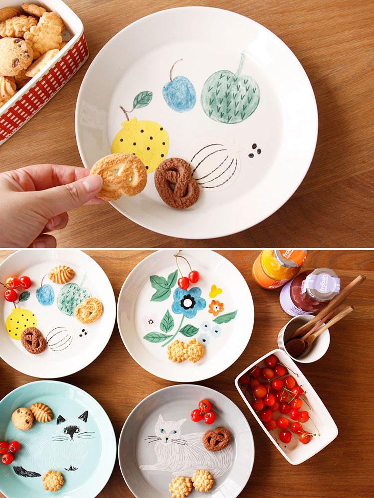 松尾ミユキ プレート L【お皿 食器 プレート 皿 磁器 松尾みゆき ワンプレート キッチン 雑貨 カフェ かわいい 可愛い おしゃれ グレー 緑 白