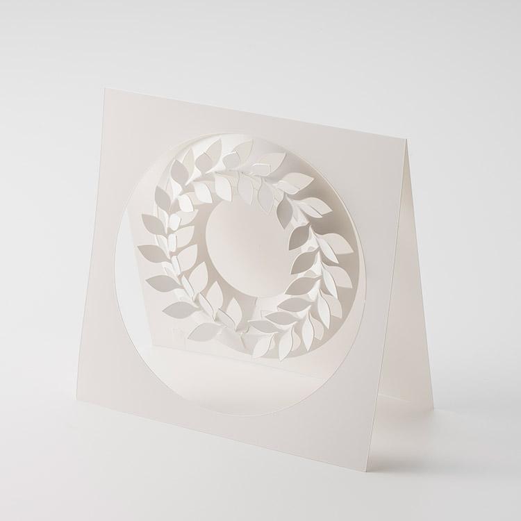 クリスマスリース【メール便ok】paper wreath ペーパーリース SS【伊藤千織 ホワイトリース 紙 飾り付け パーティー 飾り 白 カード】