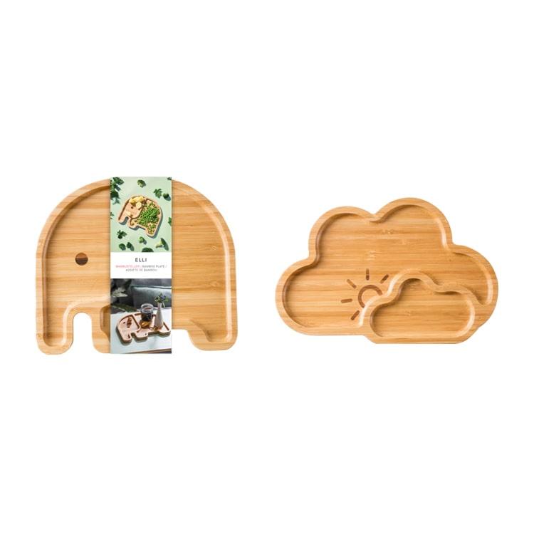 食器 バンブープレート 竹 竹製 プレート お皿 皿 器 ランチプレート ワンプレート ゾウ ぞう 雲 動物 子供 子供用 キッチン ベビー食器