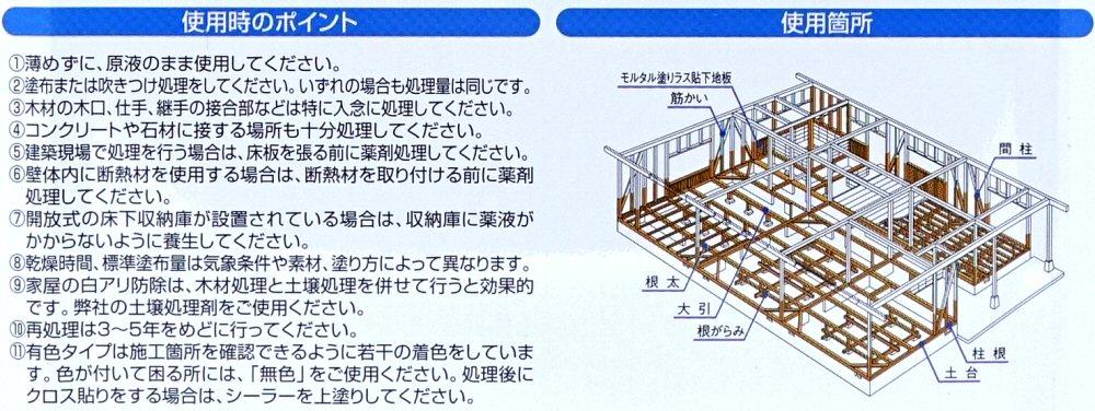 シロアリ 白あり 木部用 白アリ予防駆除剤 木材防腐剤  水性  ジノテクト 木部用3.2L×2  無色 ケミプロ化成