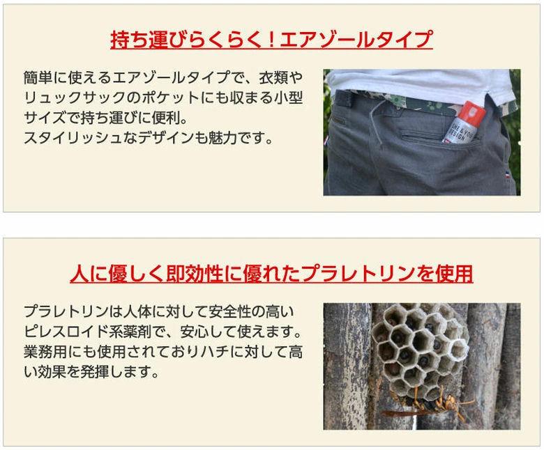 ハチ用エアゾール 100ml×10本 携帯用 蜂防除 スプレー