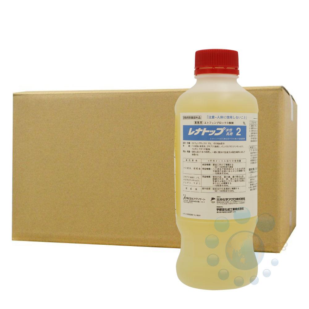 ハエ 蚊 ダニ ノミ シラミ ゴキブリ用殺虫剤 レナトップ水性乳剤2 1000ml×6本